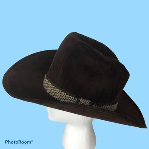 Vintage Brown Suede Cowboy Hat Woven Band Western
